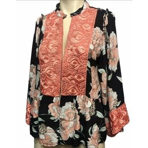 JAASE Floral & Embroidered Kimono Jacket Large